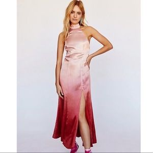 Free People Satin Ombré Pink High Neck Size 0